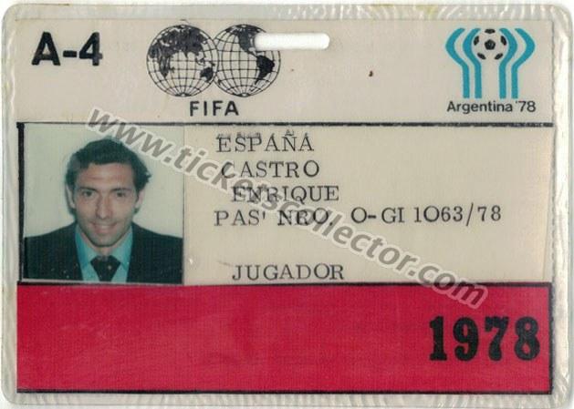 1978 Acreditación Quini Mundial Argentina
