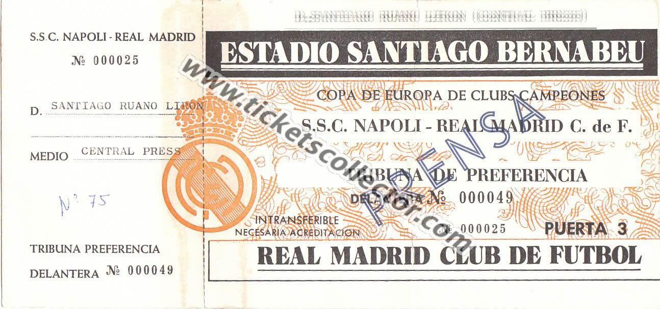 C1 1987-88 Real Madrid Nápoles