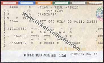 C1 1988-89 Milán Real Madrid